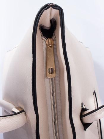 Ecru torba shopper efekt saffiano                                  zdj.                                  5