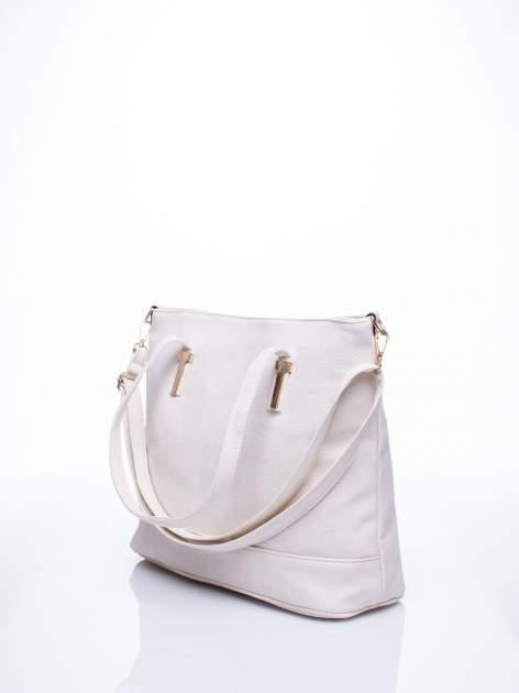 Ecru torba shopperka z odczepianym paskiem                                   zdj.                                  2