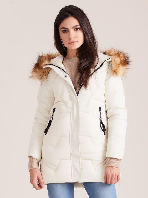Ecru zimowa damska kurtka                              zdj.                              1