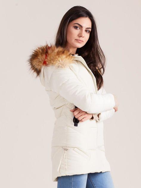 Ecru zimowa damska kurtka                              zdj.                              3