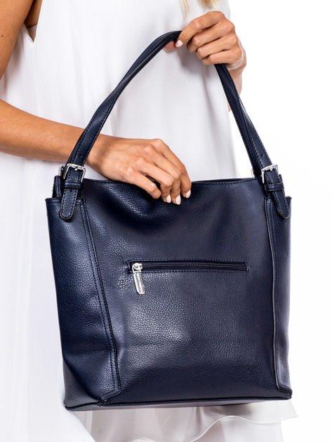 Elegancka granatowa torba z eko skóry z logo                              zdj.                              4