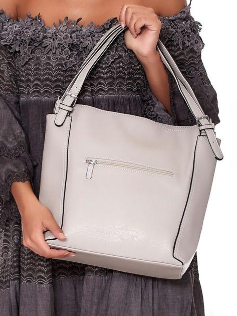 Elegancka jasnoszara torba z eko skóry z logo                              zdj.                              4