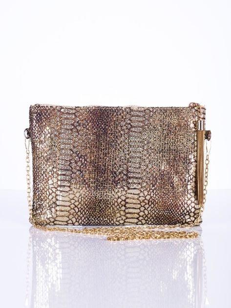 Elegancka kopertówka z motywem wężowej skóry złota                              zdj.                              7