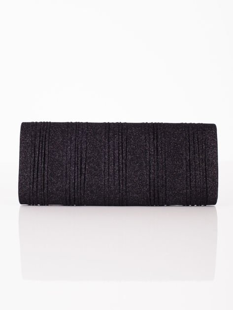 Elegancka kopertówka z ozdobnym plisowaniem czarna                              zdj.                              3
