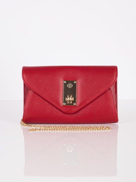 Elegancka kopertówka z ozdobnym zapięciem ciemno czerwona                              zdj.                              8
