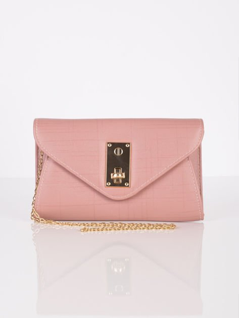 Elegancka kopertówka z ozdobnym zapięciem pudrowo różowa                              zdj.                              8
