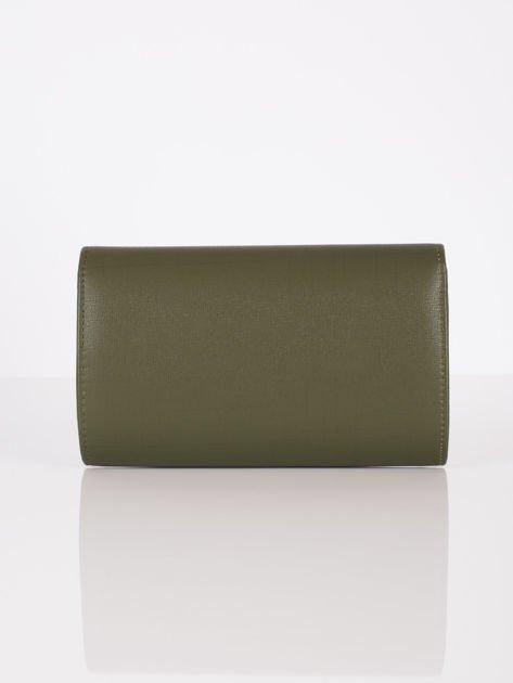 Elegancka kopertówka z ozdobnym zapięciem zielona                              zdj.                              3
