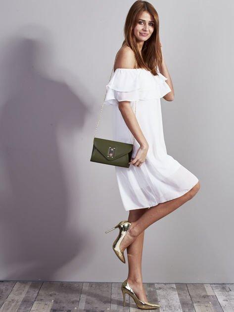 Elegancka kopertówka z ozdobnym zapięciem zielona                              zdj.                              6