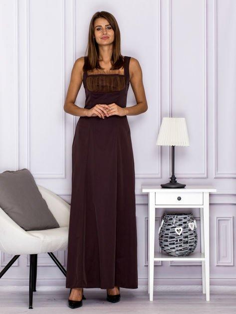 Elegancka sukienka wieczorowa maxi brązowa                              zdj.                              1