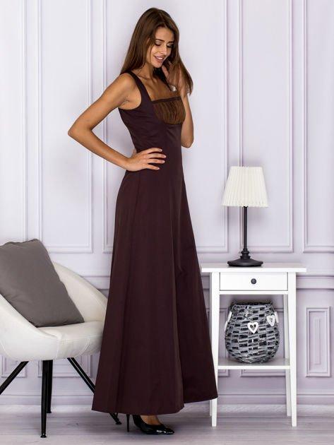 Elegancka sukienka wieczorowa maxi brązowa                              zdj.                              3