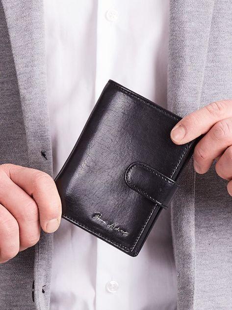 Elegancki pionowy portfel męski czarny                              zdj.                              3