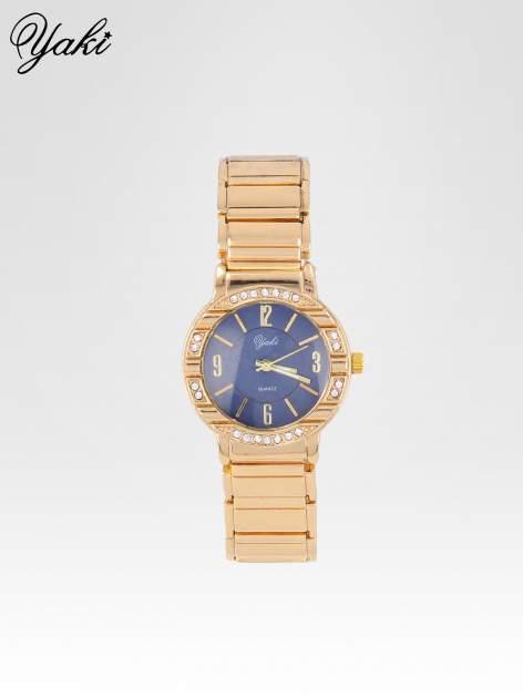 Elegancki złoty zegarek damski z granatową tarczą