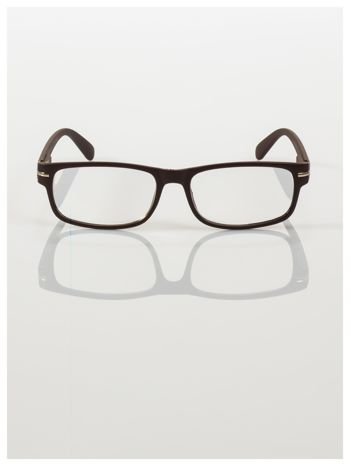 Eleganckie brązowe matowe korekcyjne okulary do czytania +1.5 D  z sytemem FLEX na zausznikach                                  zdj.                                  3