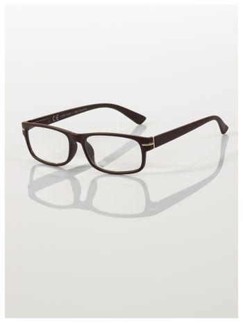 Eleganckie brązowe matowe korekcyjne okulary do czytania +4.0 D  z sytemem FLEX na zausznikach                                  zdj.                                  1