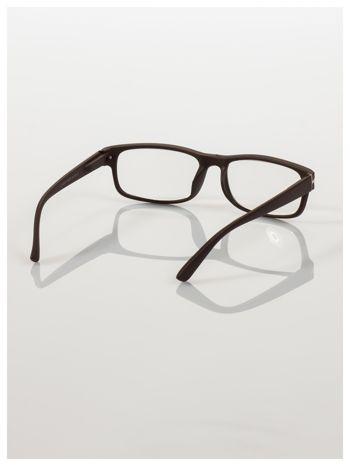 Eleganckie brązowe matowe korekcyjne okulary do czytania +4.0 D  z sytemem FLEX na zausznikach                                  zdj.                                  4