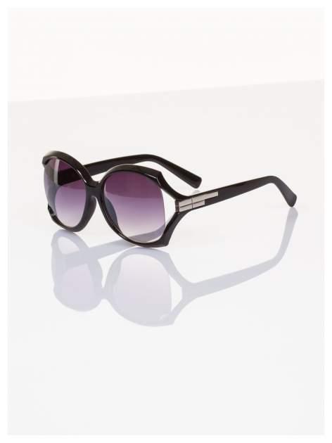 """Eleganckie czarne duże okulary przeciwsłoneczne """"MUCHY""""                                  zdj.                                  1"""