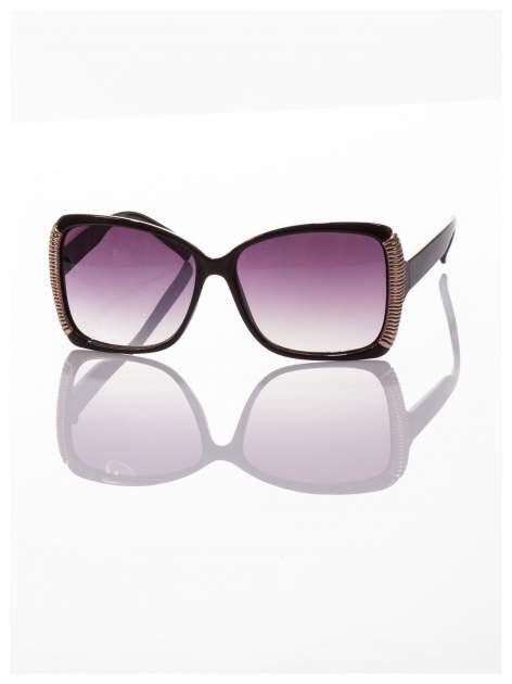 Eleganckie czarne okulary przeciwsłoneczne ze srebrnymi bokami                                  zdj.                                  2