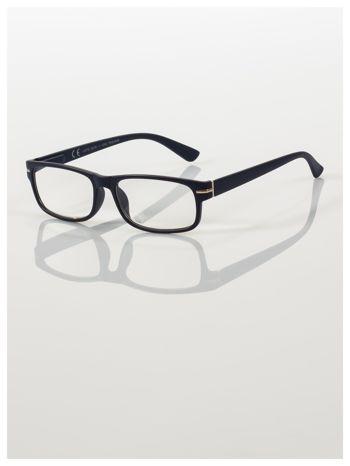 Eleganckie granatowe matowe korekcyjne okulary do czytania +2.5 D  z sytemem FLEX na zausznikach