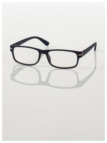 Eleganckie granatowe matowe korekcyjne okulary do czytania +3.0 D  z sytemem FLEX na zausznikach                                  zdj.                                  2