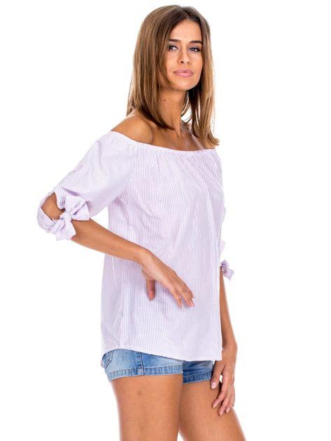 Fioletowa bluzka hiszpanka w paski                              zdj.                              3