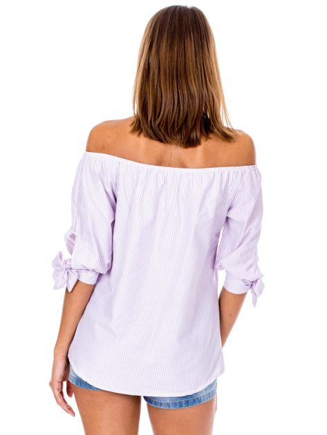 Fioletowa bluzka hiszpanka w paski                              zdj.                              2