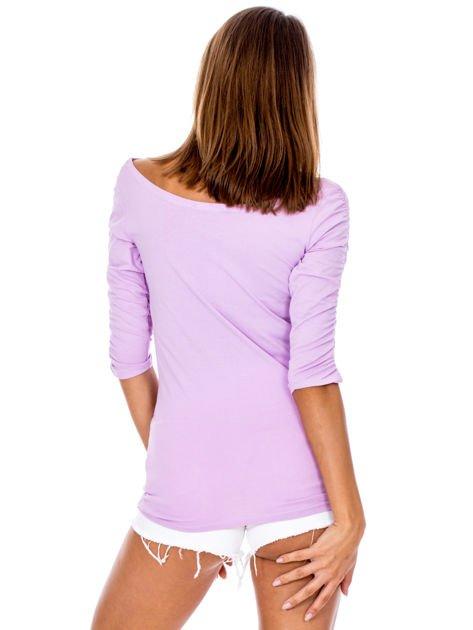 Fioletowa bluzka z marszczeniem na ramionach                              zdj.                              2
