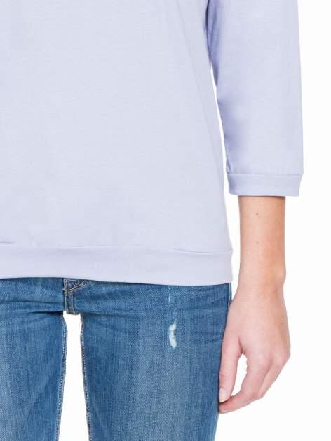 Fioletowa gładka bluzka z luźnymi rękawami 3/4                                  zdj.                                  6