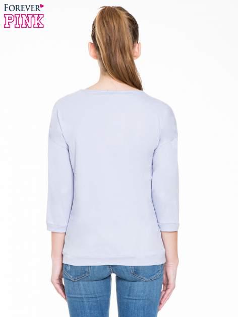Fioletowa gładka bluzka z luźnymi rękawami 3/4                                  zdj.                                  4
