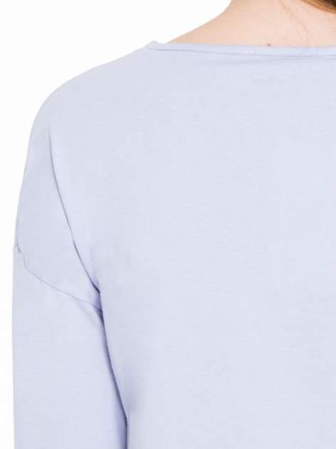 Fioletowa gładka bluzka z luźnymi rękawami 3/4                                  zdj.                                  7