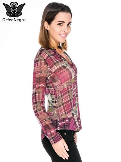Fioletowa koszula damska w kratę                                  zdj.                                  3
