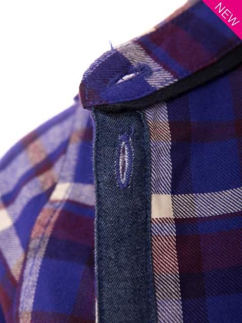 Fioletowa koszula w kratę z kieszonką z przodu                                  zdj.                                  6