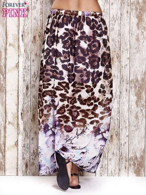 Fioletowa spódnica maxi we wzór panterkowokwiatowy                                  zdj.                                  3