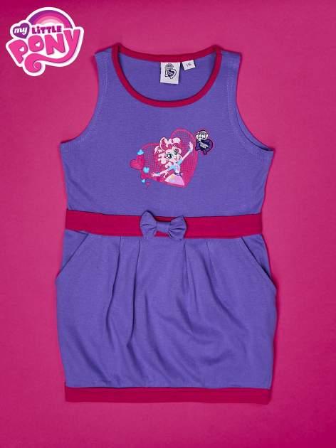 Fioletowa sukienka dla dziewczynki z kokardką i kieszonkami MY LITTLE PONY                              zdj.                              1