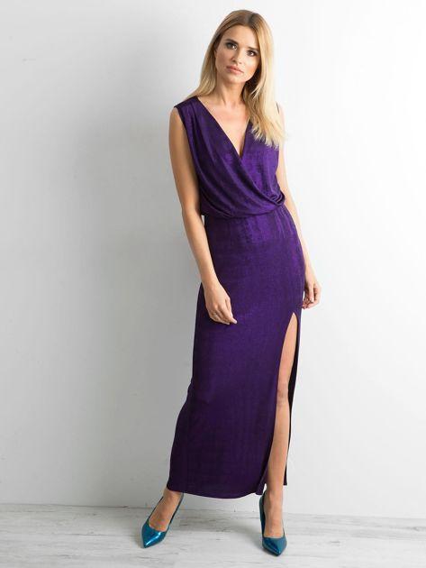 Fioletowa sukienka maxi z rozcięciem                              zdj.                              1
