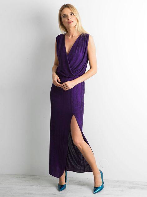 Fioletowa sukienka maxi z rozcięciem                              zdj.                              4