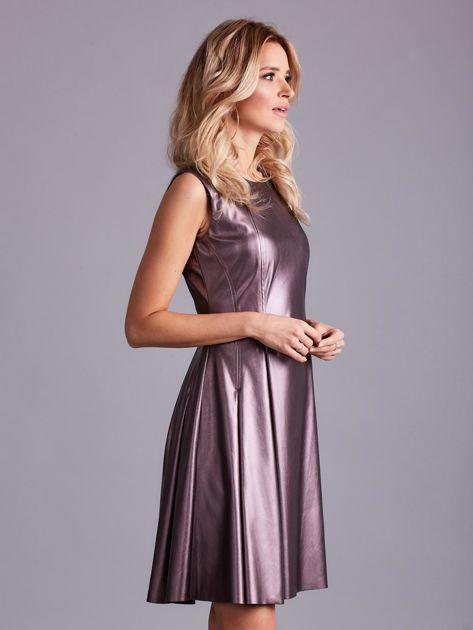 Fioletowa sukienka z ekoskóry                              zdj.                              3