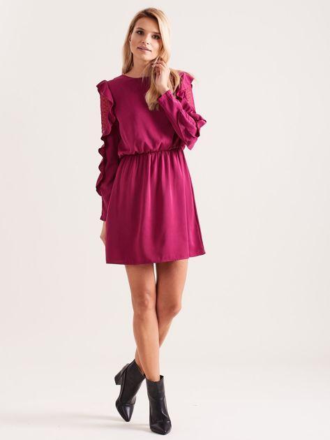 Fioletowa sukienka z falbanami na rękawach                              zdj.                              4