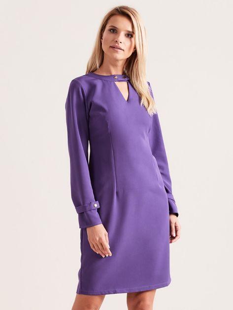 Fioletowa sukienka z wycięciem                               zdj.                              1