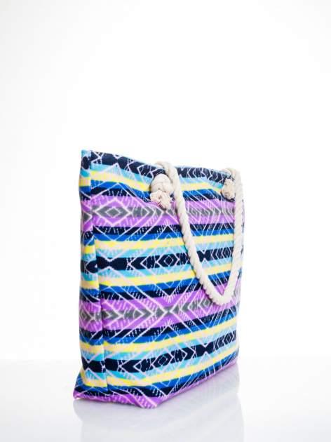 Fioletowa torba plażowa w azteckie wzory                                  zdj.                                  3