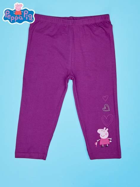 Fioletowe legginsy dla dziewczynki nadruk ŚWINKA PEPPA                                  zdj.                                  1