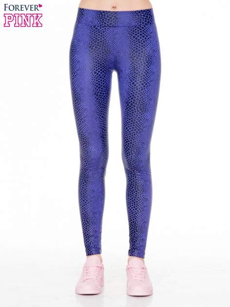 Fioletowe legginsy z efektem skóry krokodyla                                  zdj.                                  1