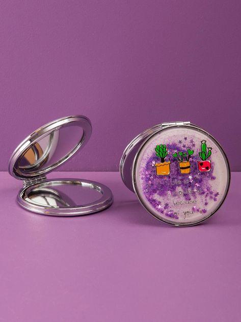 Fioletowe okrągłe lusterko kosmetyczne