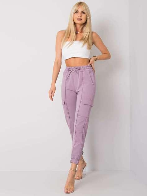 Fioletowe spodnie dresowe z kieszeniami Despina RUE PARIS