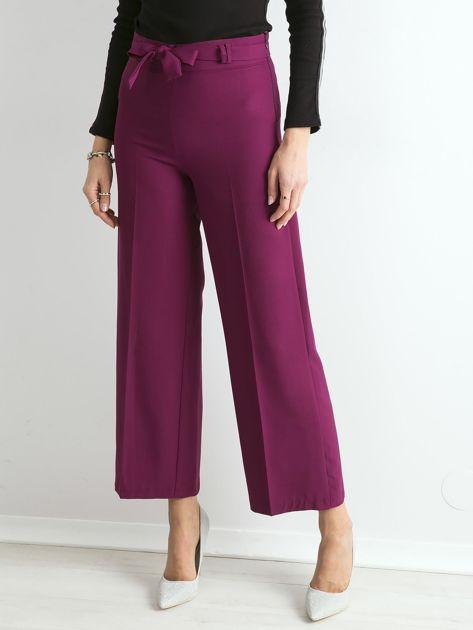Fioletowe szerokie spodnie z wiązaniem                              zdj.                              1