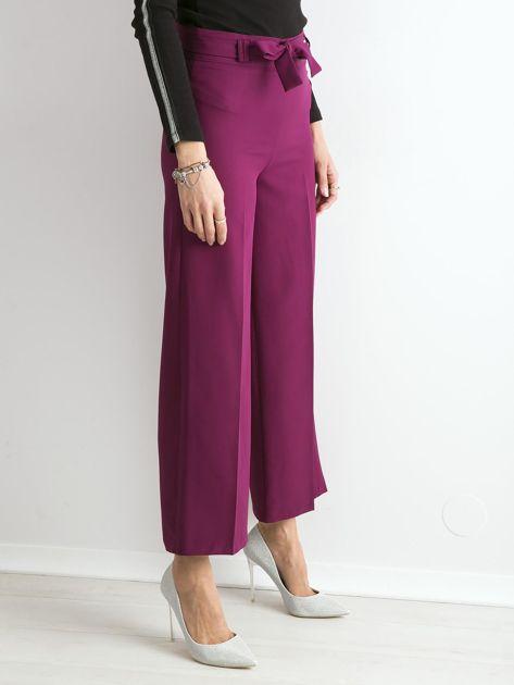 Fioletowe szerokie spodnie z wiązaniem                              zdj.                              3
