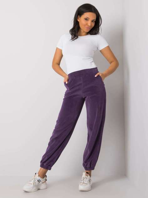 Fioletowe welurowe spodnie dresowe Shefali RUE PARIS