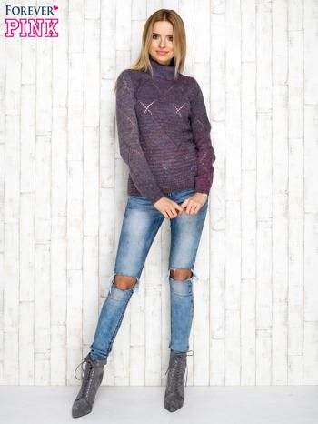 Fioletowy ażurowy sweter z golfem                                  zdj.                                  4