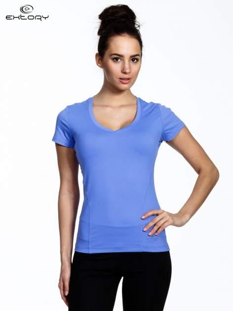 Fioletowy modelujący damski t-shirt sportowy                                   zdj.                                  1