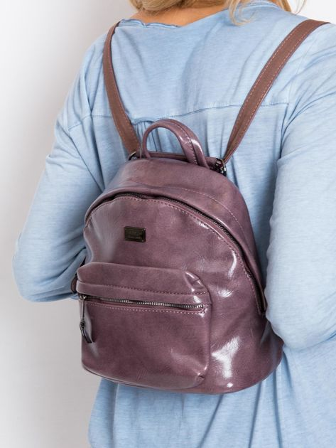 Fioletowy plecak z eko skóry                              zdj.                              1