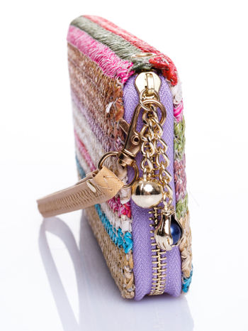 Fioletowy pleciony portfel w paski                                  zdj.                                  3